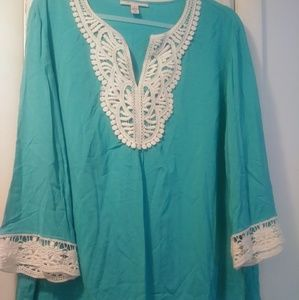 TURQUOISE *WHITE LACE* TUNIC TOP 16 XL